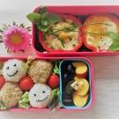 Bento Nr. 10  – Paprika-Ei-Blume mit Spinat und Reis